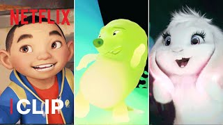 Best Chin, Gobi & Bungee Moments in Over the Moon 👦🏻💚🐰 Netflix Jr
