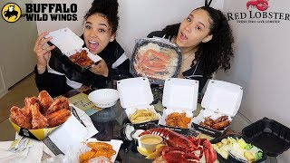 BUFFALO WILD WINGS & RED LOBSTER MUKBANG (CRAB LEGS, WINGS, FRIES)