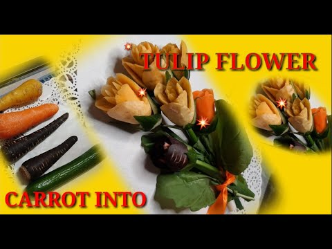 HOW TO MAKE TULIP FLOWER MINI BOUQUET OUT OFF #yellow #CARROT ||Fredie Lluren Vlog
