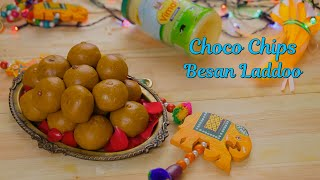 Choco Chips Besan Laddoo   Halwai Style Besan Laddoo Recipe   Indian Sweets Recipes For Diwali