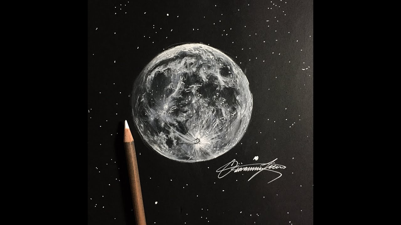 Full Moon Drawing Black And White How I Draw The Moon In Less Than One Hour Youtube