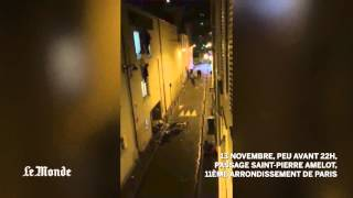 Bataclan attack video: People flee Paris theater seconds after terrorists open fire(Footage filmed by 'Le Monde' journalist Daniel Psenny captured the moment crowds fled the Bataclan concert hall in Paris, Friday, after gunmen began shooting ..., 2015-11-14T14:56:26.000Z)