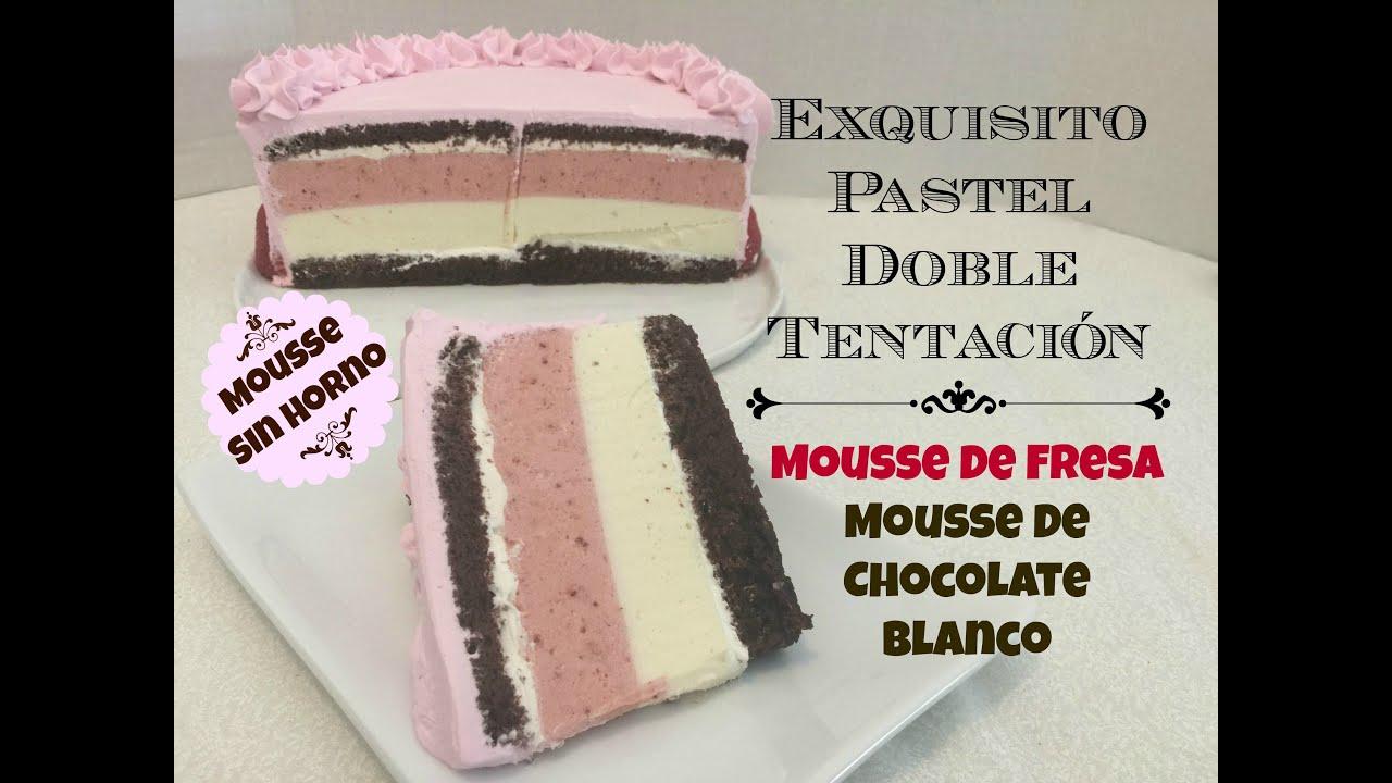 Pastel doble mousse de fresa y chocolate blanco - acomerpe.com