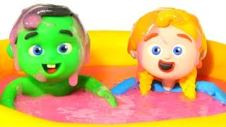 KIDS FALL IN A SLIME POOL ❤ PLAY DOH CARTOONS FOR KIDS
