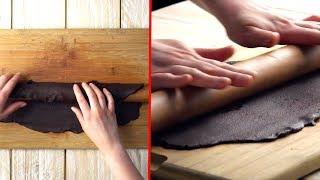Umwickle das Nudelholz mit dem Schoko-Teig für die besondere Tarte.