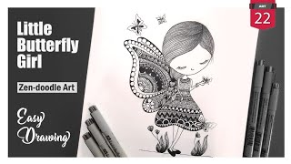 Little Butterfly Girl | Zen doodle Art | Easy Designs and Patterns