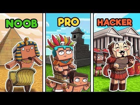 Minecraft - Ancient Base Wars! (NOOB vs PRO vs HACKER)