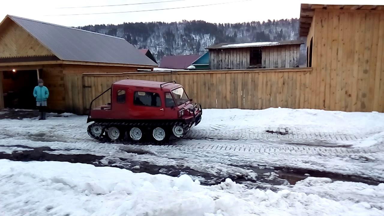 Самодельный гусеничный вездеход снегоход