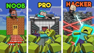 Minecraft - SECURE ZOMBIE BASE DEFENSE! (NOOB vs PRO vs HACKER)