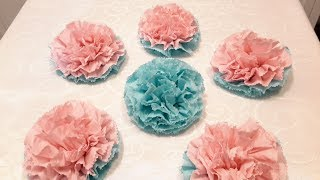 КАК СДЕЛАТЬ ЦВЕТЫ ИЗ САЛФЕТОК БЕЗ СТЕПЛЕРА .. HOW TO MAKE THE FLOWERS FROM TISSUES