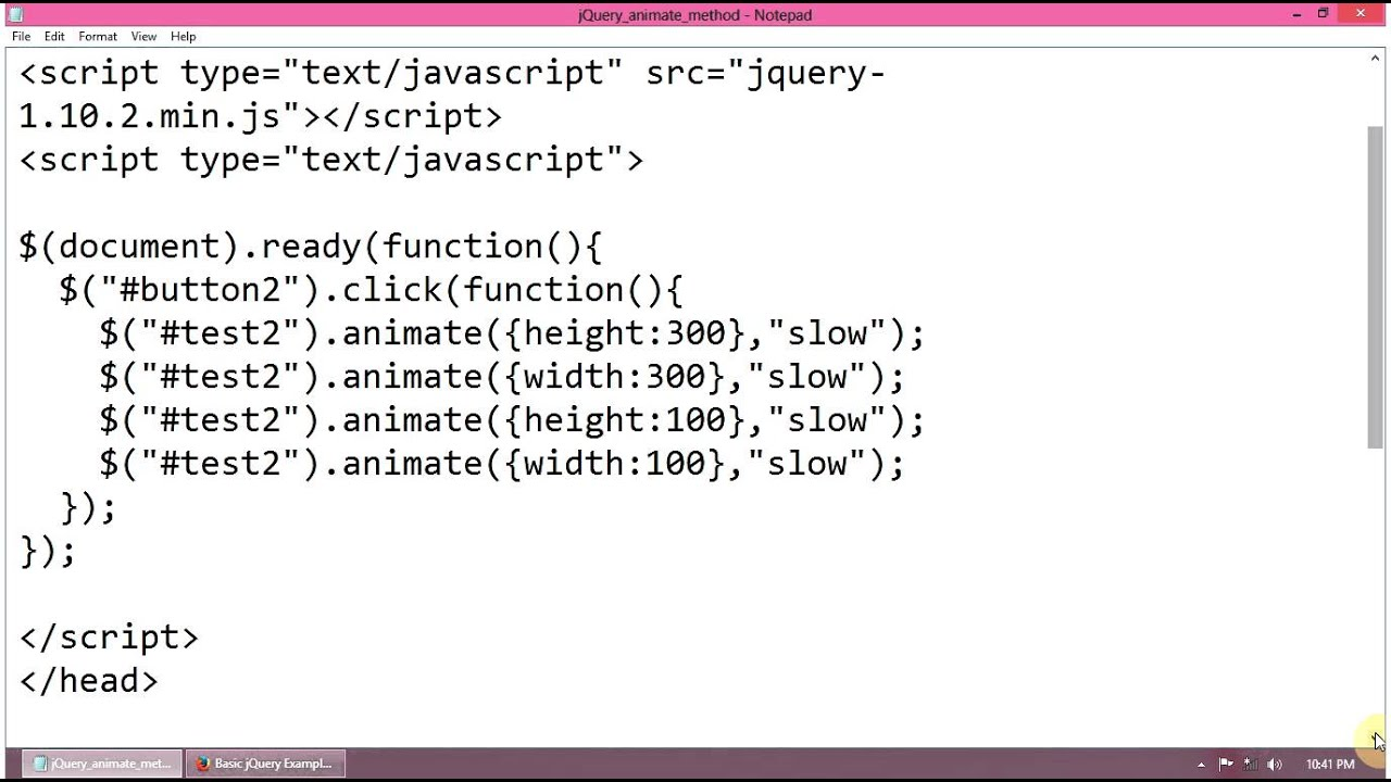 ... jQuery animate() method to animate a div on button click - YouTube