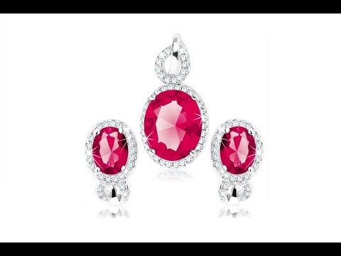 ffdb376fa42823 Biżuteria - Srebrny 925 zestaw kolczyków i wisiorka, czerwonoróżowy  cyrkoniowy owal, pętelka