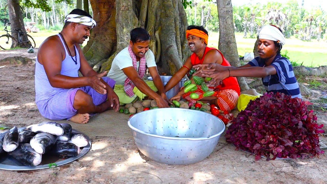 Katla mach sobji dal shak vaja bengali complete lunch prepared for tribal village people