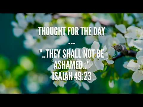They shall not be ashamed(Isaiah 49:23) Thought for the day, Apr 19, 2018
