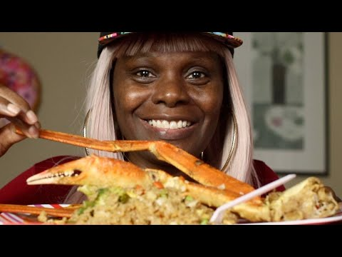 LEFT OVER DINNER CRAB LEG FRIED RICE HUSHPUPPIES ASMR EATING SOUNDS from YouTube · Duration:  18 minutes 4 seconds
