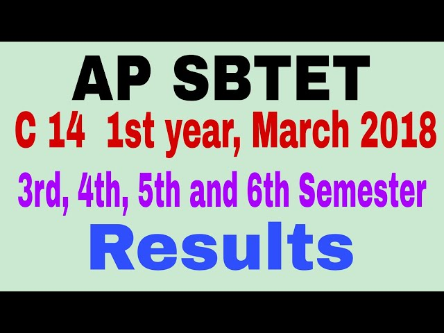 AP SBTET C14 1st year 3rd, 4th, 5th and 6th Semesters Results March-2018 ||Telugu||