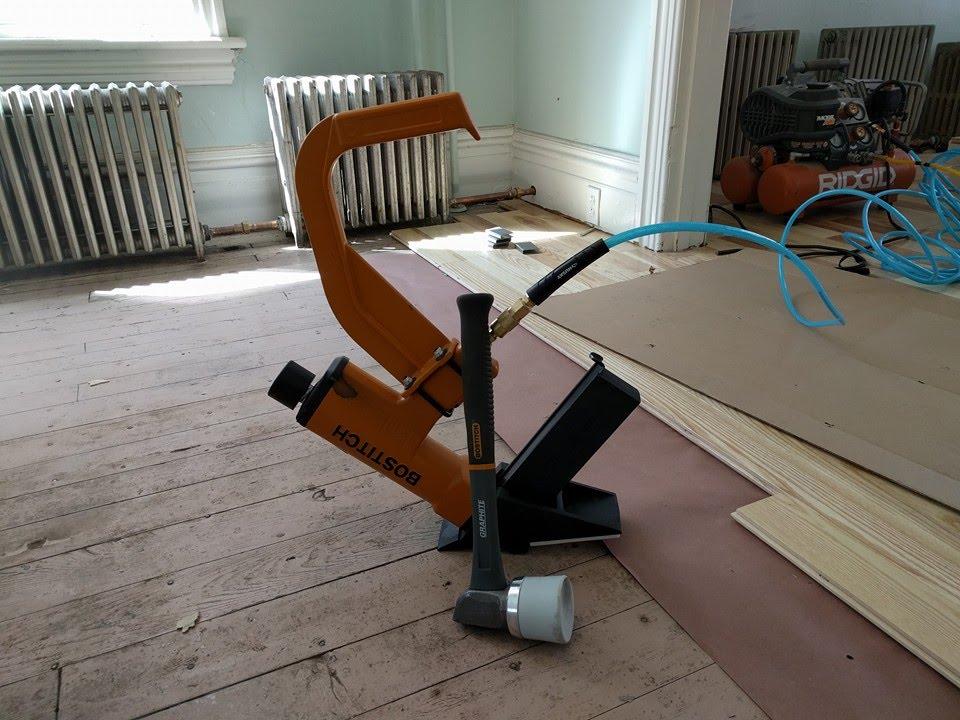 Hardwood Floor Stapler installing a hardwood floor with a pneumatic stapler Hardwood Floor Install With Bostitch Miiifs Flooring Stapler
