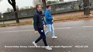 Brescia-Hellas Verona, l'arrivo delle squadre allo stadio Rigamonti
