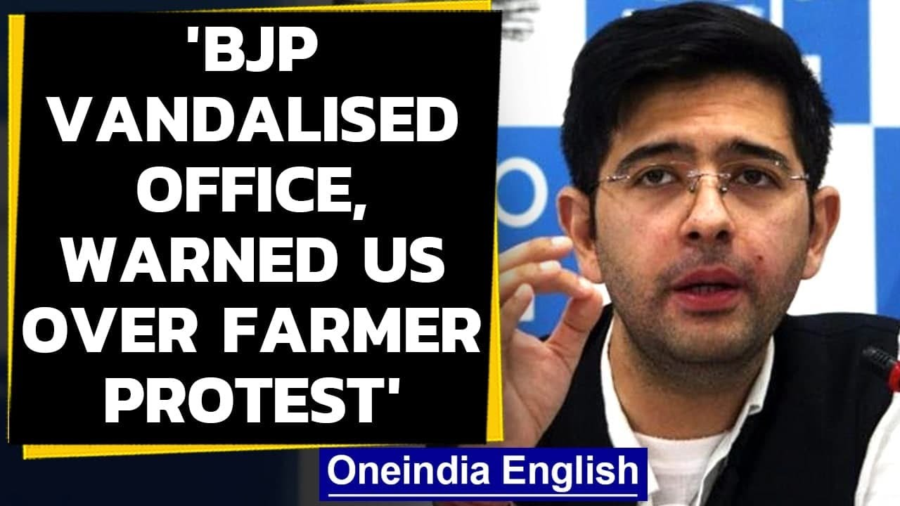 Download AAP's Raghav Chadha claims 'office vandalised by BJP workers', shares video| Oneindia News