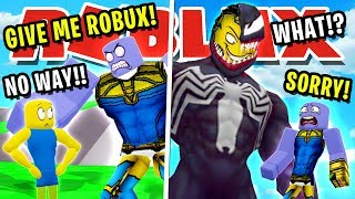 NOOB DISGUISE TROLLING! THANOS VS VENOM! PRETENDING TO BE NOOB THEN REVEAL TRUE SIZE IN LIFTING SIM!