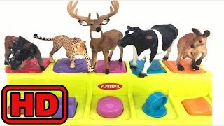 Kid -Kids -Learn Zoo Animals With Schleich Brand Safari Animal Toys And Playskool Pop Up toy/Playin
