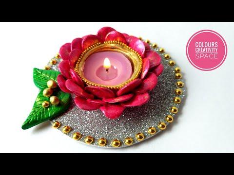DIY Flower Tealight Candle Holder for Diwali  diy Clay candle stand   diwali decoration ideas