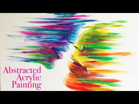Abstracted Painting of Kissing People | Acrylic | Speed Paint