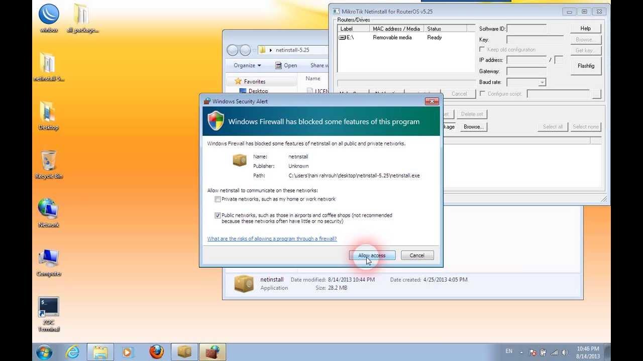mikrotik netinstall for routeros v6.13