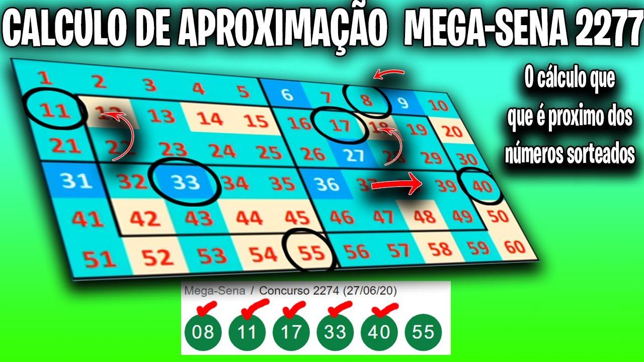 CALCULO DE APROXIMAÇÃO PARA MEGA SENA 2277 #RUMOASENA !
