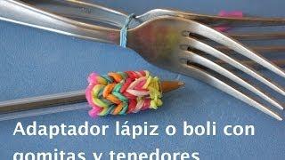 Adaptador de ligas para lápiz o boli con tenedores