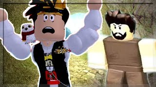 HE CHASED ME! BUILDING MY OWN FORT IN ROBLOX BOOGA BOOGA!