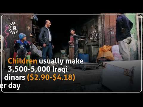 Poor children in Mosul collect bits of metal  just to make enough money to survive