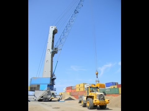 Gottwald crane loading bulk cargo (Grua Gottwald cargando granel)