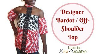 How to Make Off shoulder / Bardot Top with collar. Very simple DIY top.