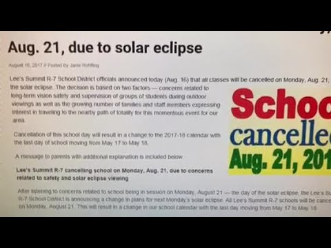 Lees Summit R-7 School District cancels class for total solar eclipse
