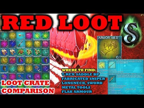 MEGA RED LOOT CRATE COMPARISON   HOW TO FIND RARE ITEMS   E8   ARK SUPER