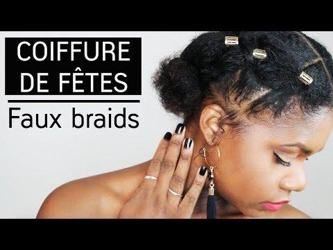 Cheveux Afro Tuto Coiffure Rapide Fausses Tresses Collées Pour Les Fêtes How To Faux Braid