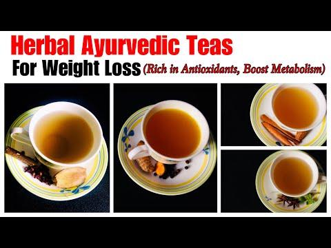 4 Herbal Ayurvedic tea for Weight & fat loss | ginger, turmeric, lemon grass & cinnamon tea recipes