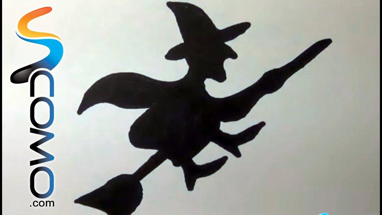 Cmo dibujar la silueta de una bruja  YouTube