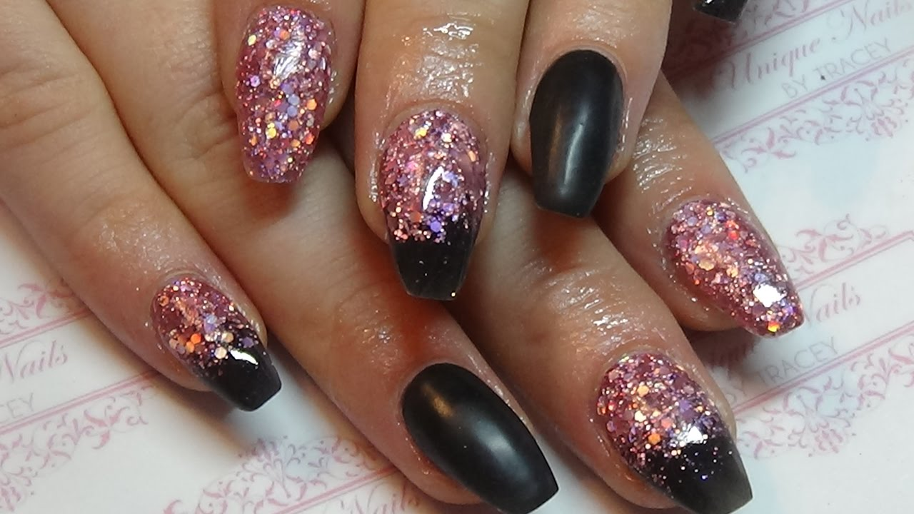 Black Glitter Acrylic Nails Black with pink hologr...