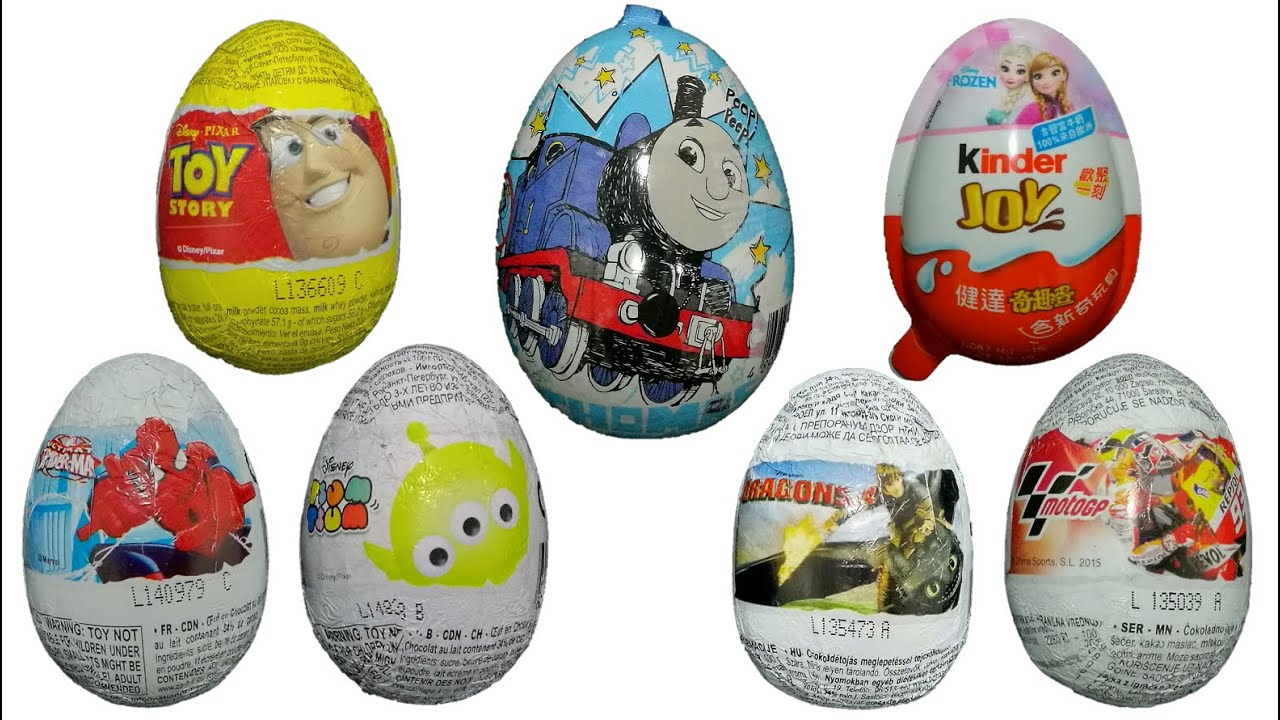 7 surprise eggs Frozen, Toy story, MotoGP, Dragons, Tsum Tsum, spider-man & Thomas and Friends