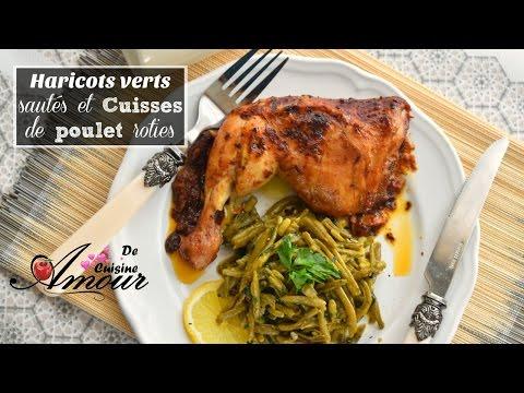haricots verts sautés à l'ail et au  persil et cuisses de poulet rôties à la moutarde