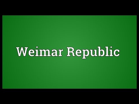 Weimar Republic Meaning