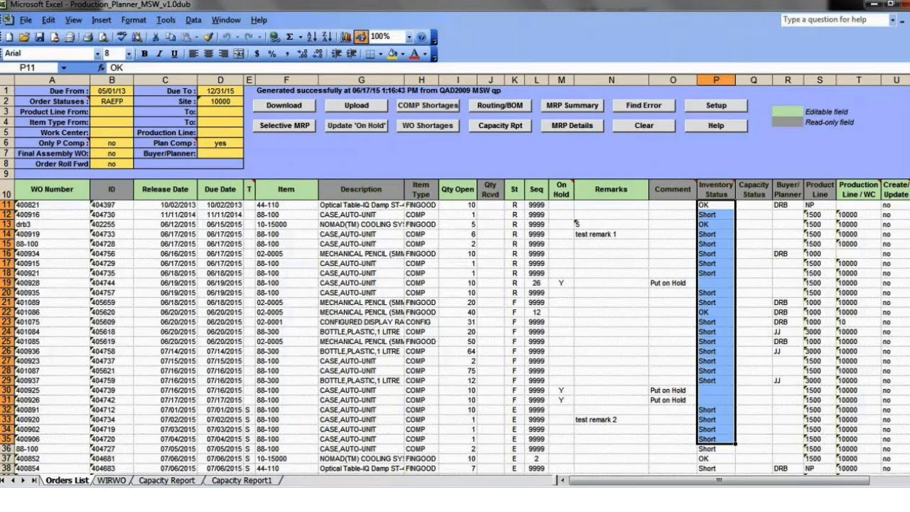 Production Planner Wo Excel Tool For Qad 32 Soft Youtube
