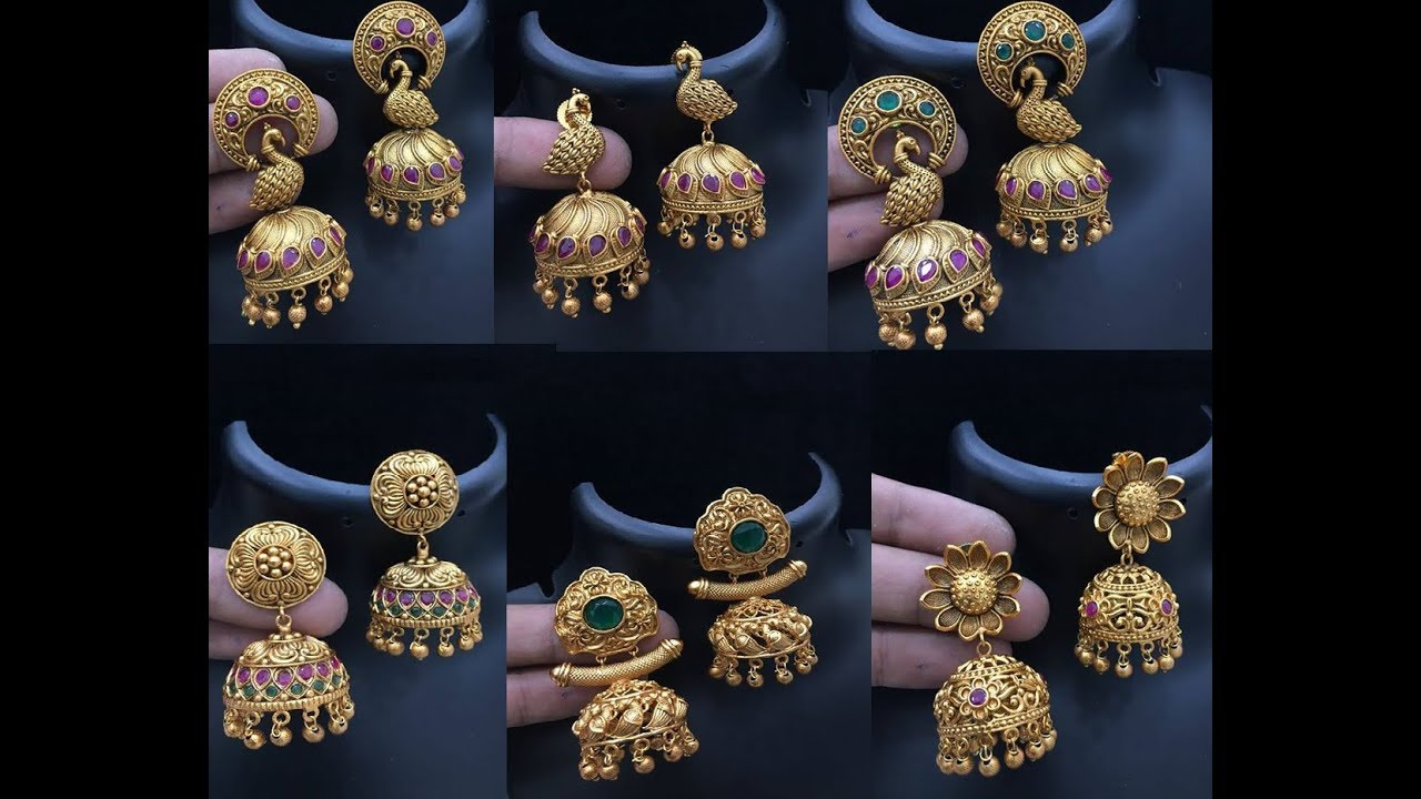0c4a29a51bff6 Latest Gold Jimikki Kammal Designs || kerala Style Gold Jhumki collections