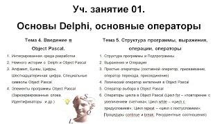 Уч.занятие 01.Основы Delphi, основные операторы
