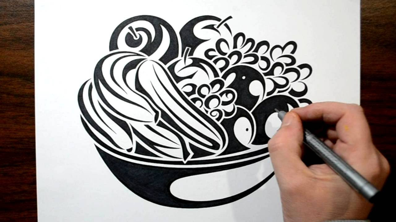 How To Draw A Fruit Bowl  Tribal Tattoo Design Style YouTube
