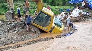 giải cứu máy xúc vị lũ cuốn trôi #Dân Tộc Thái Tây Bắc#