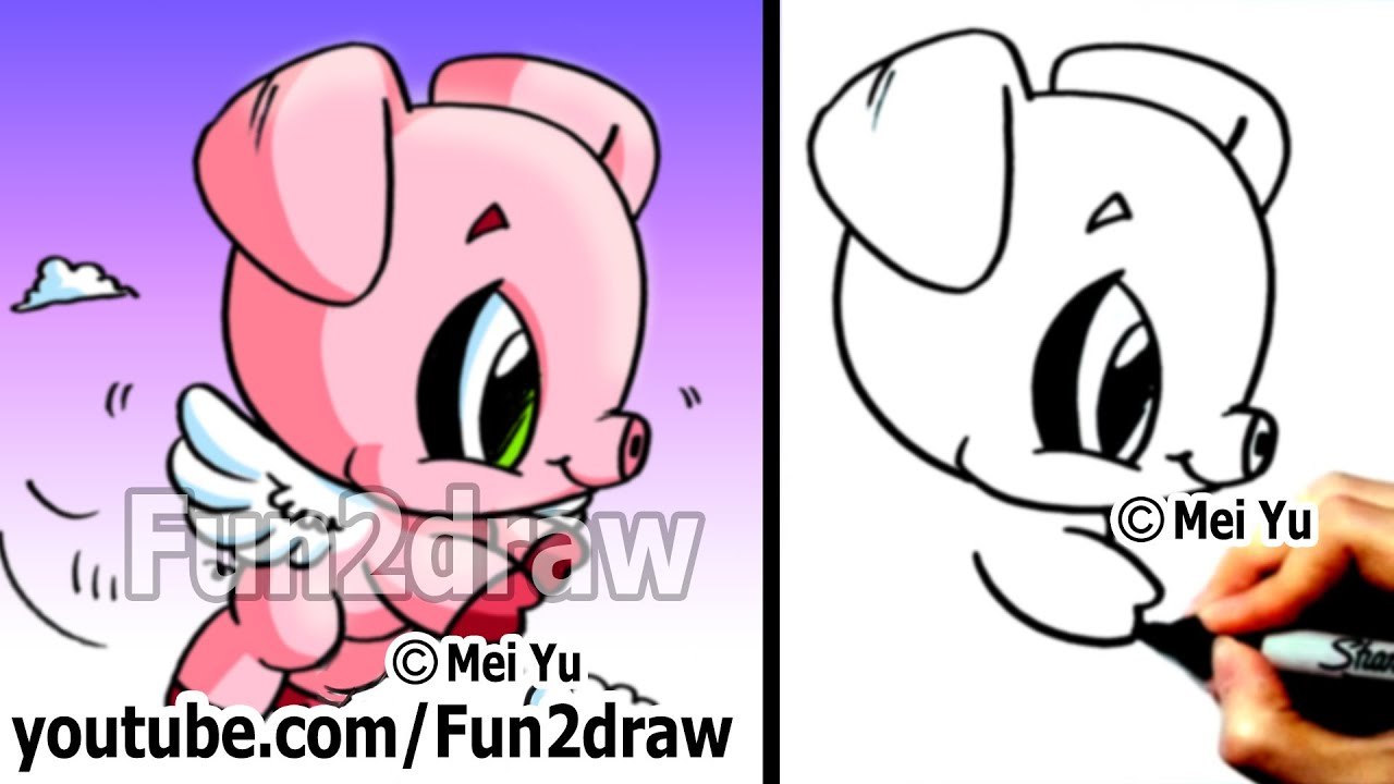 Drawing Tutorials For Beginners  How To Draw A Pig With Wings!  Learn To  Draw  Fun2draw  Youtube