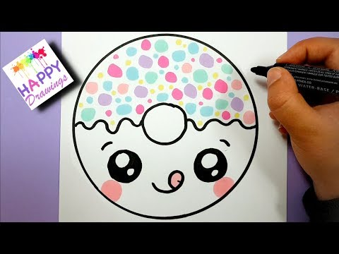HOW TO DRAW A SUPER CUTE CARTOON DONUT - EASY DRAWING